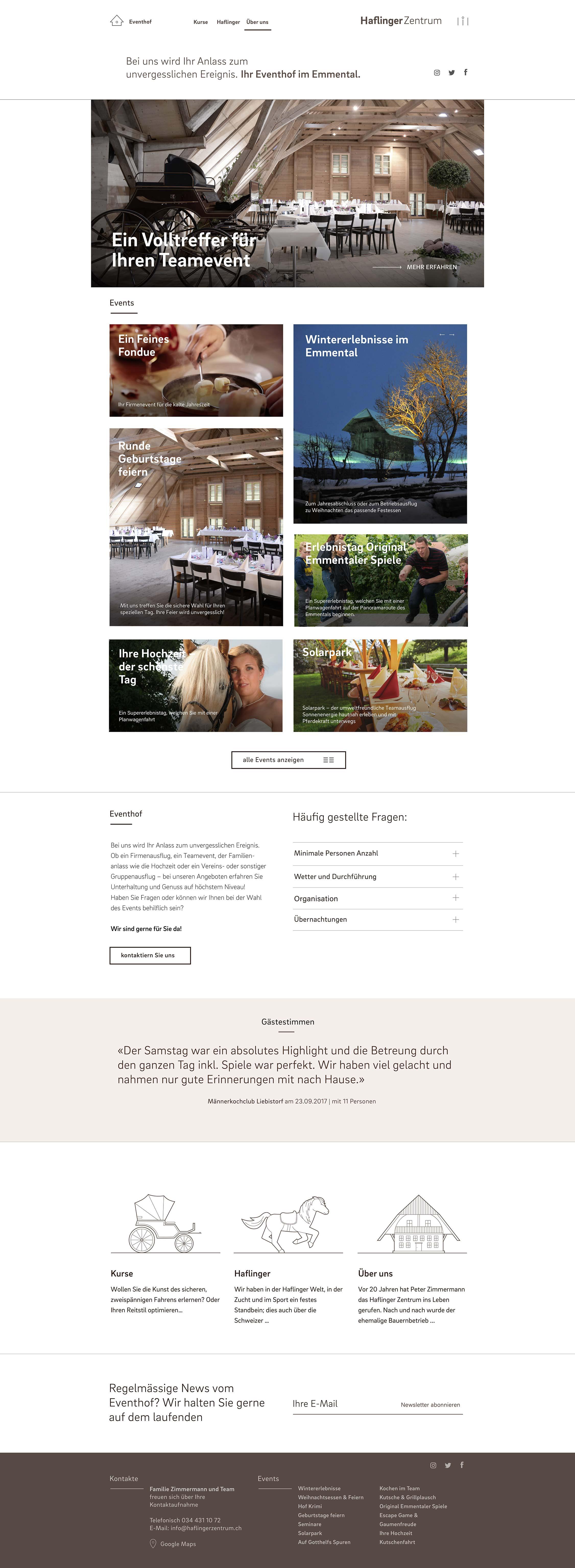 Haflinger Zentrum Digital Website Ueber uns Desktop