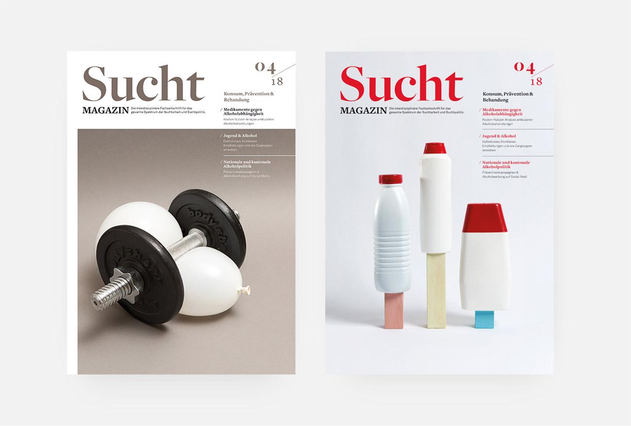 Infodrog Grafikdesign SuchtMagazin April 2018 Covers