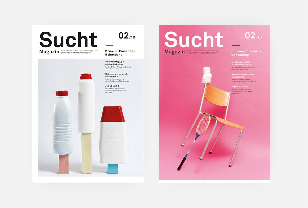 Infodrog Grafikdesign SuchtMagazin Februar 2018 Covers