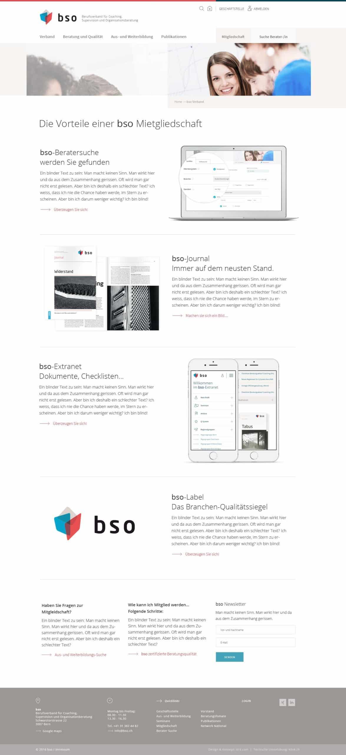 BSO Digital Website Mitgliedschaft Desktop