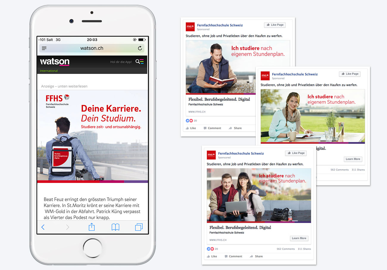 FFHS Kampagne Social Medias Watson Facebook Mobile