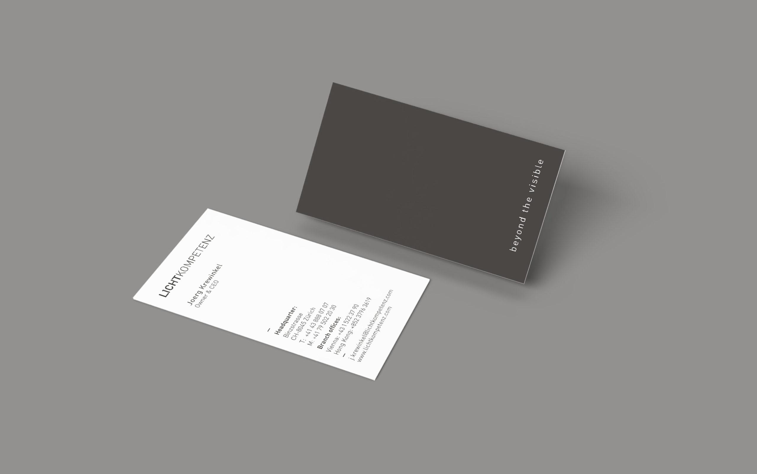 Lichtkompetenz Branding Visitenkarte