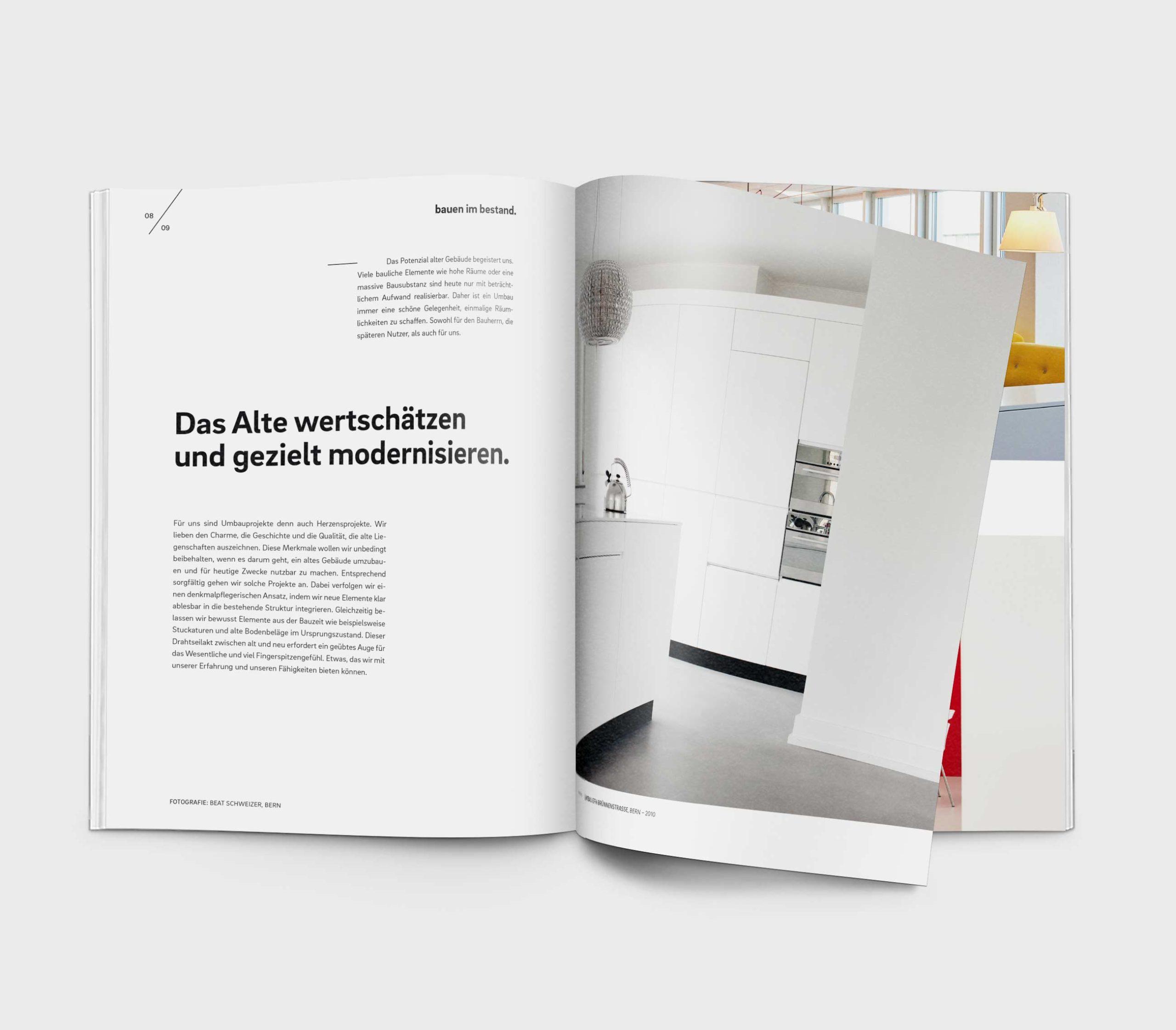 qbus Architekten Branding Broschuere Artikel Modernisieren