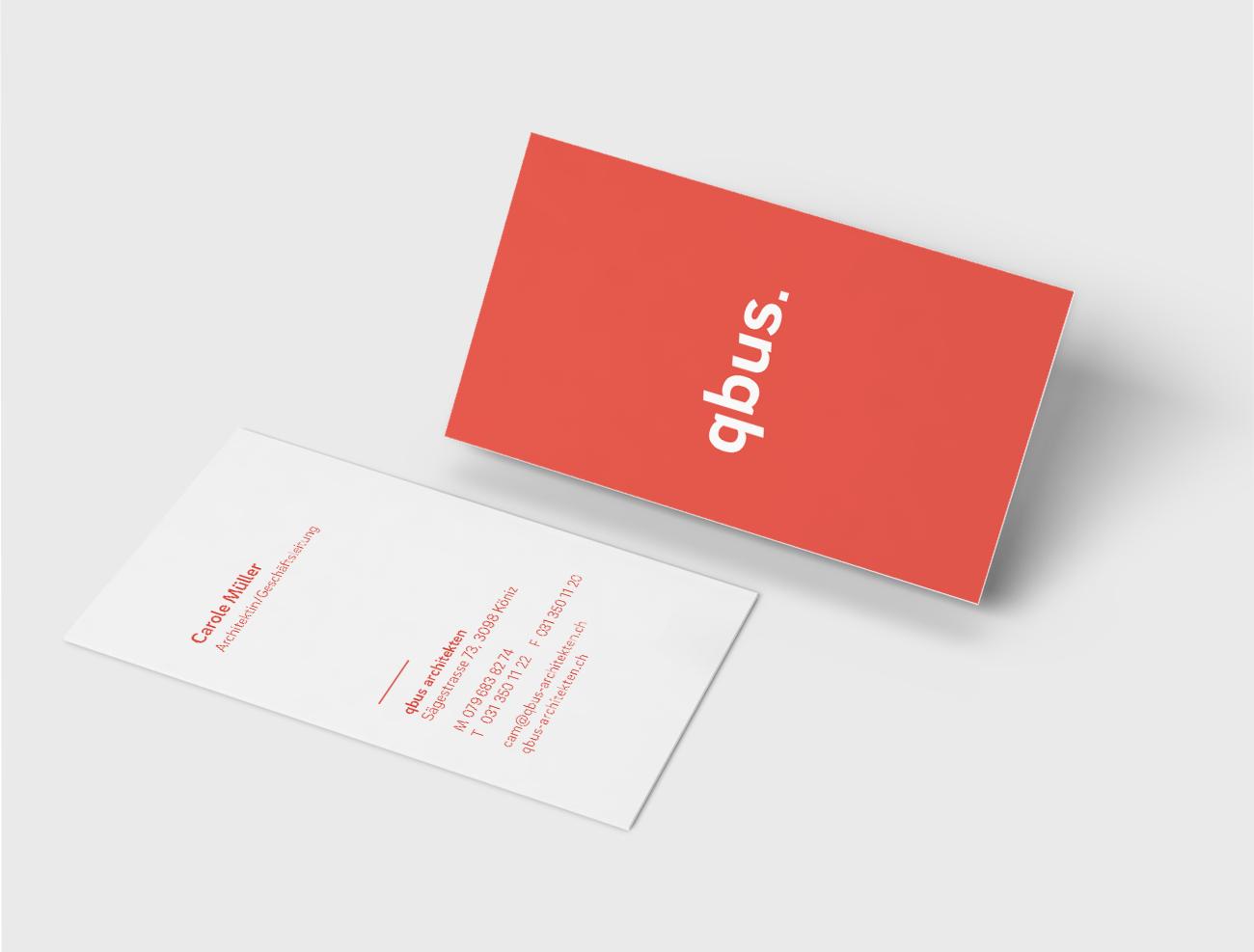 qbus Architekten Branding Visitenkarte