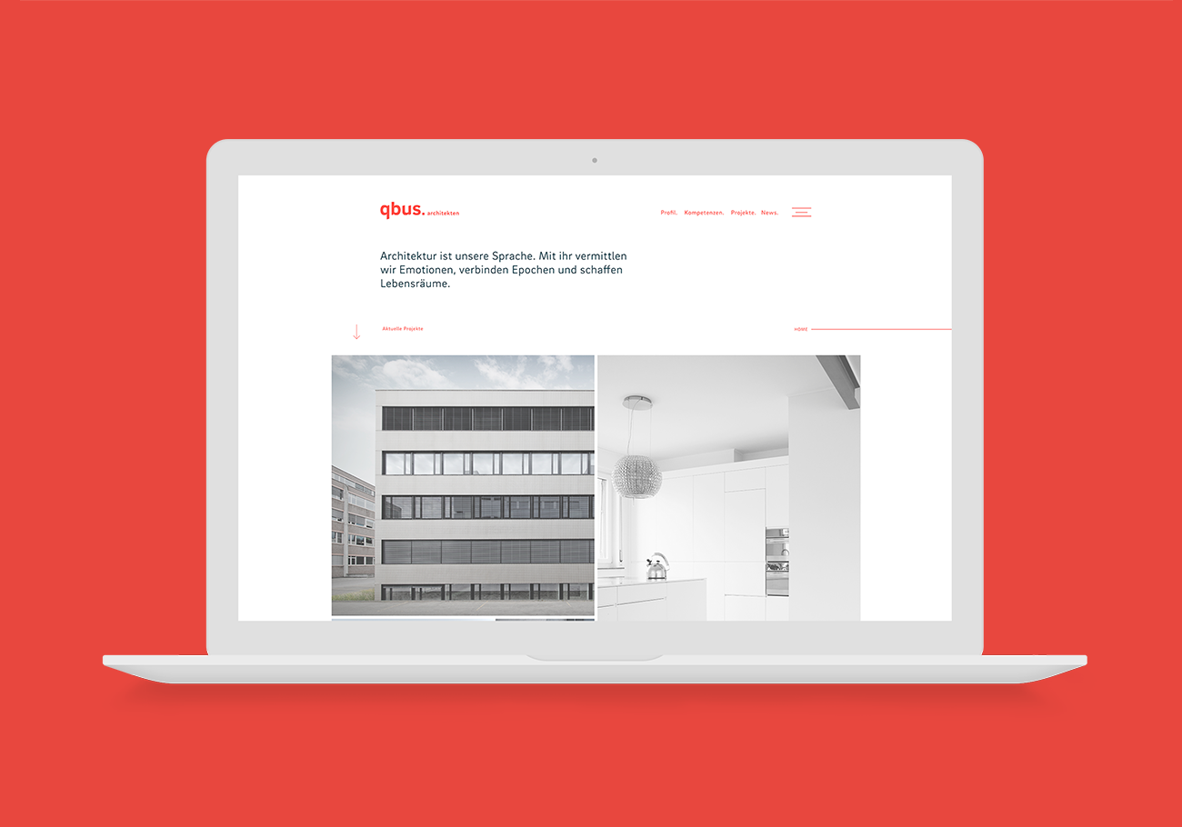 qbus Architekten Branding Website Home Desktop