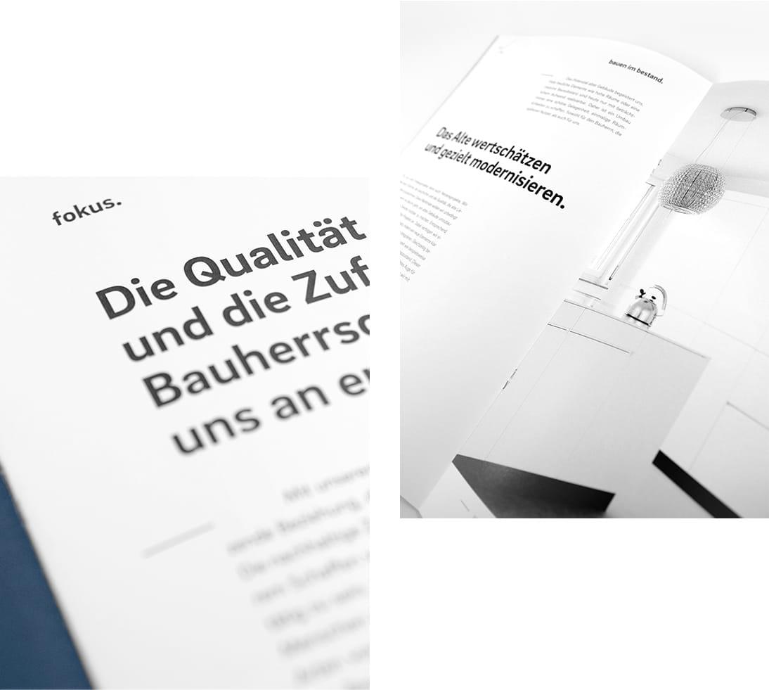 qbus Architekten Branding Broschuere Fokus