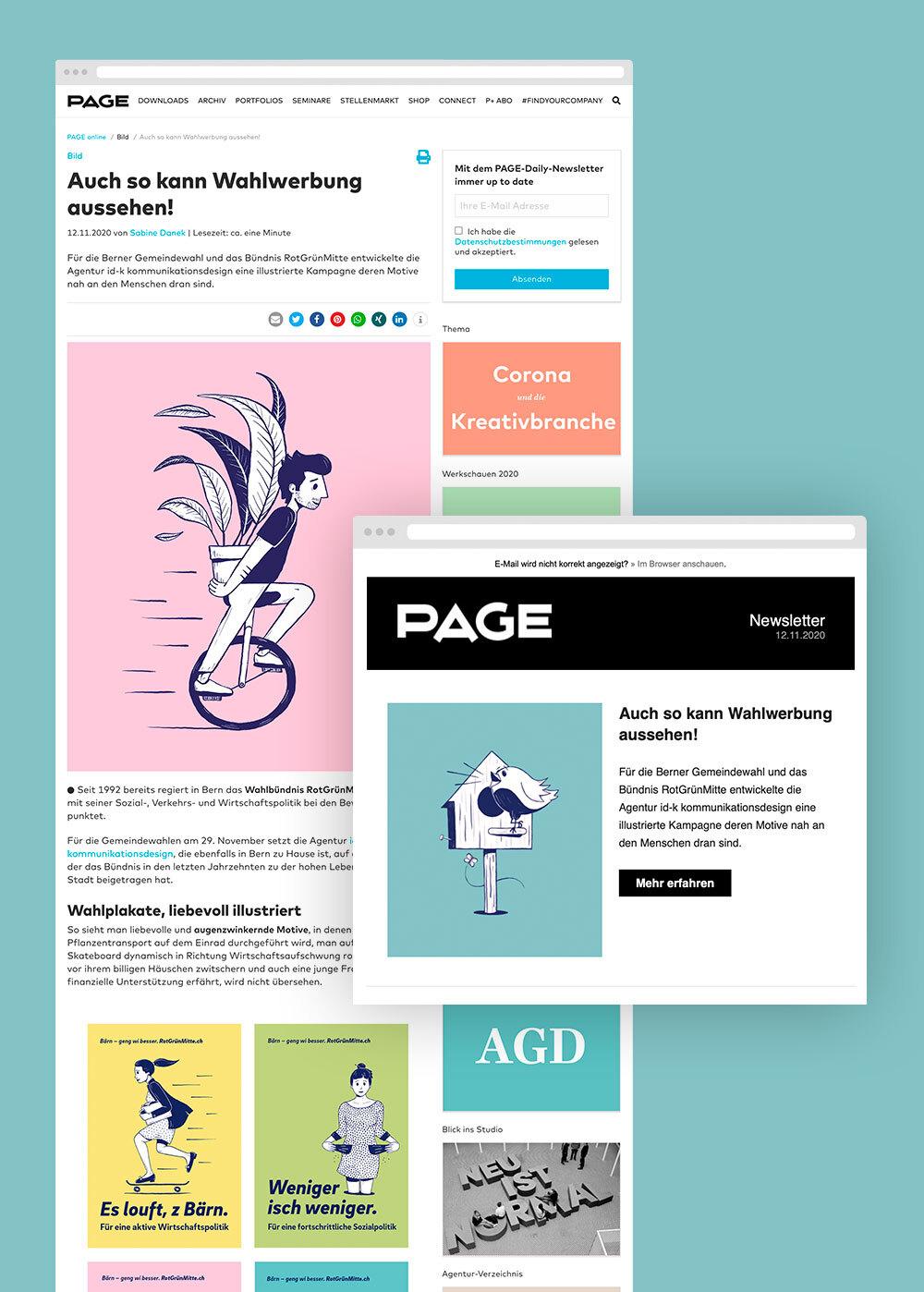 Die Wahlkampagne von id-k für RGM (RotGrünMitte) wird national und international von Designmagazinen und Branchenzeitschriften anerkannt.